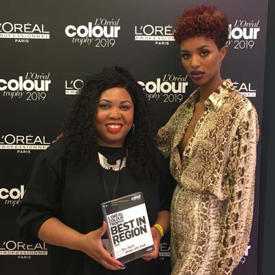 Shalani winning 'Best In Region' at the L'Oréal Colour Trophy Regional Finals